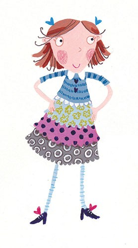 Joanne Partis Illustration - joanne, partis, joanne partis, mixed media, collage, acrylic, paint, trade, commercial, trade, educational, editorial, apple, advertising, greetings cards, picture book, traditional, texture, girl, stripes, clothes, patterns, bows,