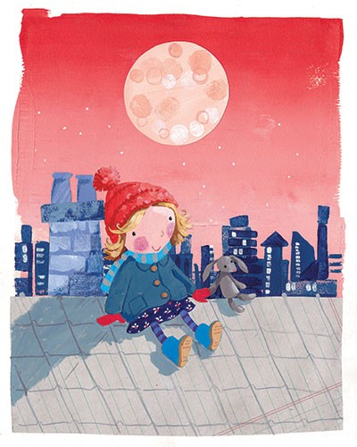 Joanne Partis Illustration - joanne, partis, joanne partis, mixed media, collage, acrylic, paint, trade, commercial, trade, educational, moon, editorial, apple, advertising, greetings cards, picture book, traditional, texture, girl, roof top, night, stars, cold, hat, scarf