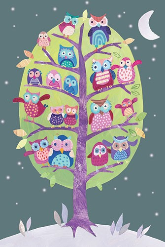 Joanne Partis Illustration - joanne, partis, joanne partis, mixed media, collage, acrylic, paint, trade, commercial, trade, educational, editorial, apple, advertising, greetings cards, picture book, traditional, texture, tree, owls, moon, wildlife, birds