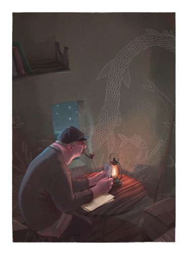 Jordi Solano Illustration - jordi solano, jordi, solano, painterly, painted, magical, whimsical, digital, photoshop, YA, young fiction, picture books, fantasy, crayon, acrylic, fisherman, male, adult, man, fishing, fishes, lighthouse, smoking, smoker, pipe, dark, darkness, night tim