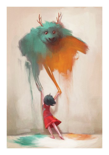 Jordi Solano Illustration - jordi solano, jordi, solano, painterly, painted, magical, whimsical, digital, photoshop, YA, young fiction, picture books, fantasy, crayon, acrylic, girl, paint, monster, wall, dress, mysterious, magical