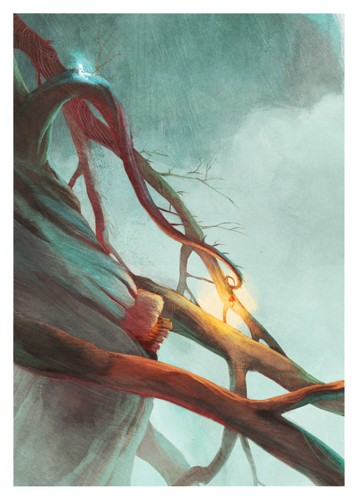 Jordi Solano Illustration - ordi solano, jordi, solano, painterly, painted, magical, whimsical, digital, photoshop, YA, young fiction, picture books, fantasy, crayon, acrylic, trees, branches, twigs, windy, rainy, drizzly, person, hiding, homes, tree houses, lights, lamps, lanterns,