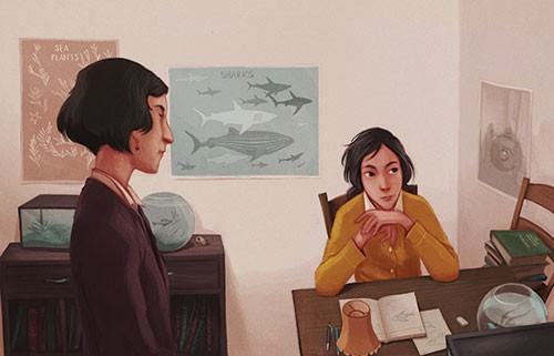 Jordi Solano Illustration - jordi solano, jordi, solano, painterly, painted, magical, whimsical, digital, photoshop, YA, young fiction, picture books, fantasy, crayon, acrylic, sharks, learning, reading, home, mum, daughter, book, notes, posters, lamp, light, work, fish, bowl, drawi