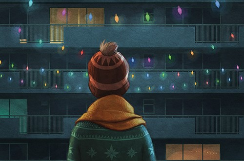 Jordi Solano Illustration - jordi solano, painted, magical, traditional, digital, photoshop, YA, fiction, picture book, texture, christmas, boy, child, character, lights, fairy lights, christmas lights, building, flats, house, home, estate, cold, winter, festive, seasonal, hat, colo