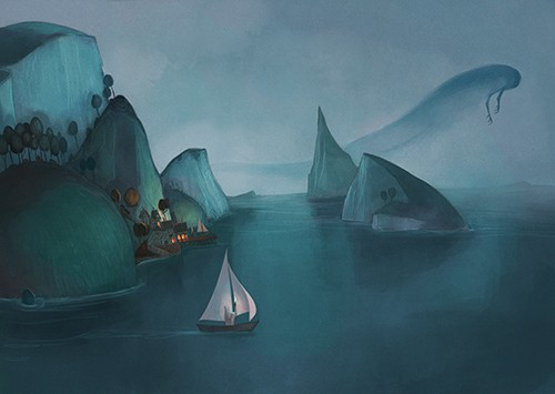 Jordi Solano Illustration - jordi solano, painted, magical, traditional, whimsical, digital, photoshop, YA, young fiction, picture book, tones, texture, nature, coast, fantasy, cliff, ocean, water, sea, town, houses, lights, dark, glow, monster, creature, fog, mist, sky, rocks, boat