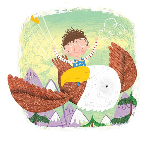 Jordan Wray Illustration - Jordan, Wray, Jordan Wray, illustration, pencil, drawing, photoshop, colour, colourful, commerical, mass market, fiction, cute, sweet, boy, child, character, figure, person, eagle, bird, flying, sky, wings, clouds, mountains, snow, happy, fun, exciting, g