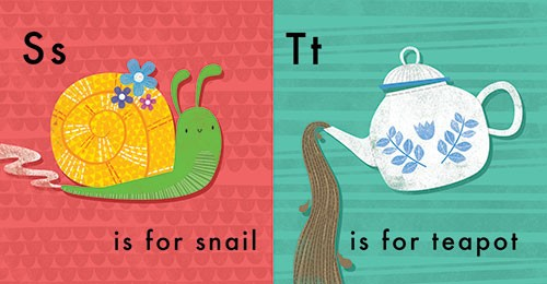 Jordan Wray Illustration - Jordan, Wray, Jordan Wray, illustration, pencil, drawing, photoshop, colour, colourful, commerical, mass market, fiction, cute, sweet, educational, alphabet, learning, animal, snail, flowers, happy, smile, teapot, tea, drink,