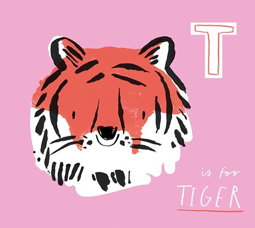 Jordan Wray Illustration - Jordan, Wray, Jordan Wray, illustration, pencil, drawing, photoshop, colour, colourful, commerical, mass market, fiction, cute, sweet, educational, alphabet, learning, animal, tiger, face, smile happy, cat, wild, wildlife,