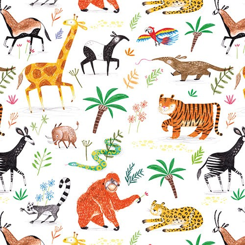 Jordan Wray Illustration - Jordan, Wray, Jordan Wray, illustration, pencil, drawing, photoshop, colour, colourful, commerical, mass market, fiction, cute, sweet, print, pattern, jungle, wild, wildlife, animals, leaves, palm tree, giraffe, anteater, parrot, monkey, warthog, gazelle