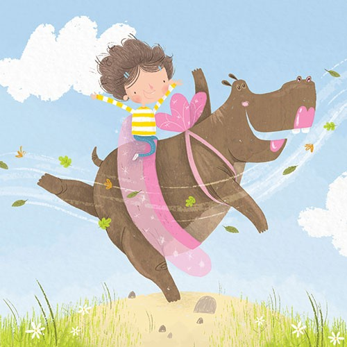 Jordan Wray Illustration - Jordan, Wray, Jordan Wray, illustration, pencil, drawing, photoshop, colour, colourful, commerical, mass market, fiction, cute, sweet, girl, child, person, character, hippo, friends, dancing, tutu, ballerina, fun, leaves, clouds, sky, wings, happy, smiles