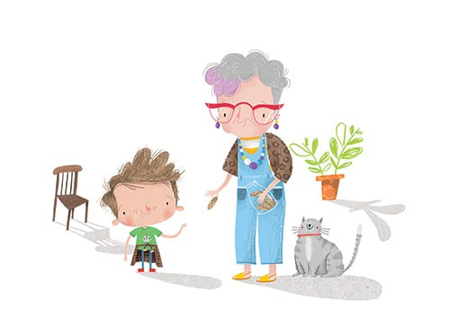 Jordan Wray Illustration - Jordan, Wray, Jordan Wray, illustration, pencil, drawing, photoshop, colour, colourful, commerical, mass market, fiction, cute, sweet, people, granny, boy, child, grandma, plant, chair, glasses, cookies, treats, jar, food, cat, pet, animal