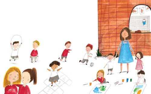 Kate Chappell Illustration - kate, chappell, kate chappell, trade, commercial, fiction, editorial, picture book, hand drawn, gouache, pencil, crayon, digital, photoshop, girls, boys, children, kids, friends, adults, teachers, playing, playground, school, skipping, hop scotch, buildin