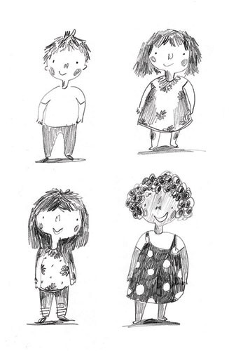 Kate Chappell Illustration - kate, chappell, kate chappell, trade, commercial, fiction, editorial, picture book, hand drawn, black and white, pencil, crayon, digital, photoshop, girls, boys, children, kids, friends, characters