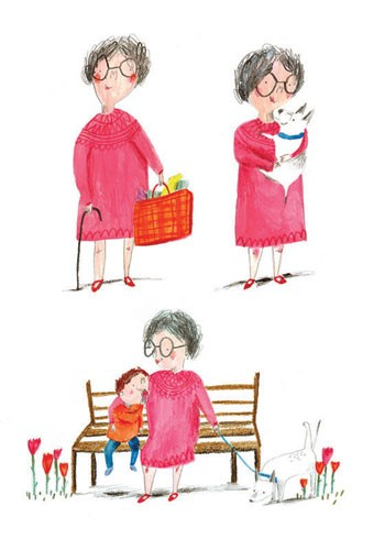 Kate Chappell Illustration - kate, chappell, kate chappell, trade, commercial, fiction, editorial, picture book, hand drawn, gouache, pencil, crayon, digital, photoshop, girls,boys, males, females, adult, child, children, kids, granny, grandma, nanny, nana, grandson, family, dogs, pu