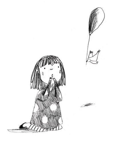 Kate Chappell Illustration - kate, chappell, kate chappell, trade, commercial, fiction, editorial, picture book, black and white, hand drawn, pencil, crayon, digital, photoshop, girls, child, children, kids, birds, outside, gardens, balloons, outdoors, kneeling, flying