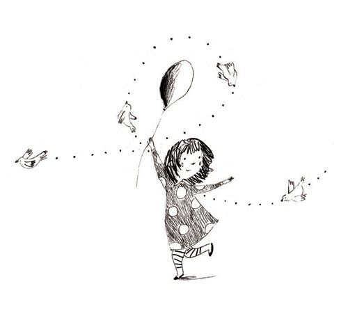 Kate Chappell Illustration - kate, chappell, kate chappell, trade, commercial, fiction, editorial, picture book, black and white, hand drawn, pencil, crayon, digital, photoshop, girls, child, children, kids, birds, outside, gardens, balloons, outdoors, dancing, flying