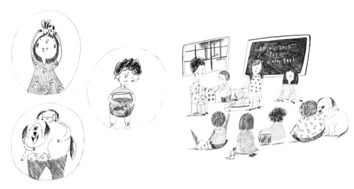Kate Chappell Illustration - kate, chappell, kate chappell, trade, commercial, fiction, editorial, picture book, hand drawn, black and white, pencil, crayon, digital, photoshop, illustrator, people person, child, children, friends, class mates, group, social, kids, school, boys, male