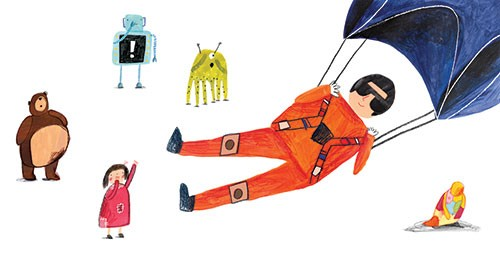 Kate Chappell Illustration - kate, chappell, kate chappell, trade, commercial, fiction, editorial, picture book, hand drawn, gouache, pencil, crayon, digital, photoshop, toys, parachute, soldier, teddy, robot, doll, octopus, bear,