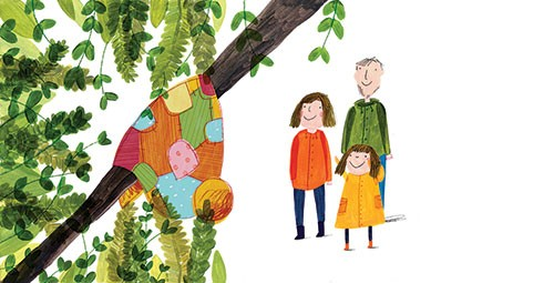 Kate Chappell Illustration - kate, chappell, kate chappell, trade, commercial, fiction, editorial, picture book, hand drawn, gouache, pencil, crayon, digital, photoshop, blanket, toy, happy, love, family, tree, lost, found, branch, mum, dad, daughter,