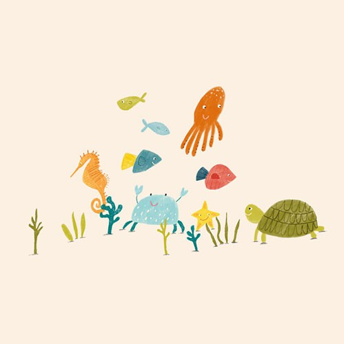 Kate Chappell Illustration - kate, chappell, kate chappell, trade, commercial, fiction, editorial, picture book, hand drawn, gouache, pencil, crayon, digital, photoshop, water, ocean, sea animals, turtle, seahorse, fish, crab, coral, starfish, octopus, cute, sweet