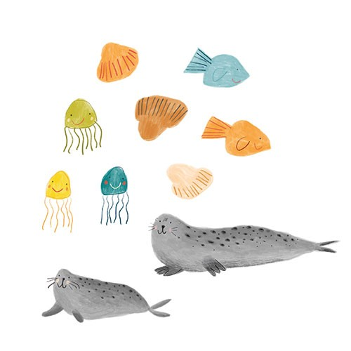 Kate Chappell Illustration - kate, chappell, kate chappell, trade, commercial, fiction, editorial, picture book, hand drawn, gouache, pencil, crayon, digital, photoshop, water, ocean, sea, animals, jellyfish, fish, seals, cute, sweet