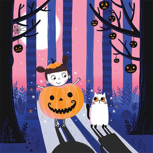 Katy Halford Illustration - katy, halford, katy halford, illustration, fiction, picture book, commercial, characters, people, animals, cat, girl, child, pumpkin, ghost, halloween, woods, jack-o-lanterns, night, dark, trees, moon, dressing up, fancy dress,
