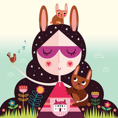 Katy Halford Illustration - katy, halford, licensing, cards, digital, mixed media, collage, digital, photoshop, illustrator, cute, sweet, young, girl, flowers, decorative, rabbits, bunnies, bunny, robin, bird, nature, house, home