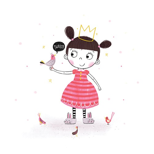 Katy Halford Illustration - katy, halford, katy halford, illustration, fiction, picture book, commercial, characters, people, animals, girl, birds, friends, princess, crown, dress, sparkles, stars, slippers, bunny rabbits, cute, fun