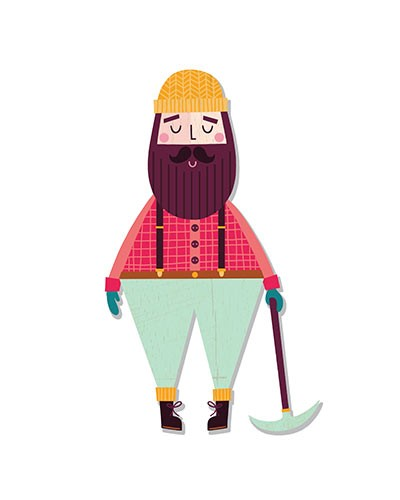 Katy Halford Illustration - katy, halford, licensing, cards, digital, mixed media, collage, digital, photoshop, illustrator, young, lumberjack, character, hat, shirt, axe, funny