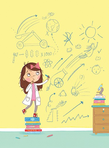 Katy Halford Illustration - katy, halford, fiction, picture book, commercial, characters, people, girl, paint, digital, digital, photoshop, illustrator, mariella queen of the skies, girl, child, science, inventor, diagrams, drawing, walls, bedroom, fun, story, YA, YA readers,