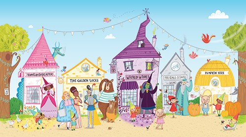 Katy Halford Illustration - katy, halford, katy halford, illustration, fiction, picture book, commercial, characters, people, animals, unicorn, rainbow, town, village, fantasy, witch, fairy