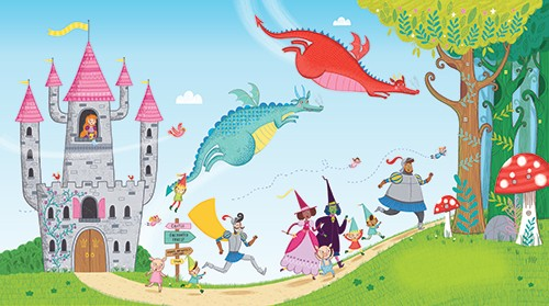 Katy Halford Illustration - katy, halford, katy halford, illustration, fiction, picture book, commercial, characters, people, animals, unicorn, rainbow, town, village, castle, fantasy, dragons, knight, fairy, witch, princess, run, running, forest, mushrooms