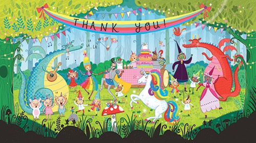 Katy Halford Illustration - katy, halford, katy halford, illustration, fiction, picture book, commercial, characters, people, animals, unicorn, rainbow, forest, trees, woods, party, banner, thank you, unicorn, dragons, knights, princess, witch, fantasy, cake, elves, birds, dance, da