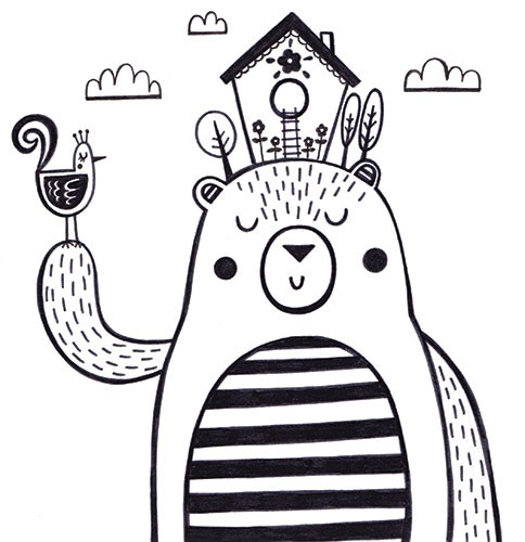 Katy Halford Illustration - katy, halford, fiction, picture book, commercial, characters, people, girl, paint, digital, black and white line, line, B&W, digital, photoshop, illustrator, animal, bear, detail, decoration, house, garden, bird, flowers, cute, sweet