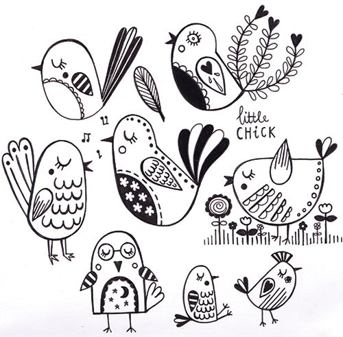 Katy Halford Illustration - katy, halford, fiction, picture book, commercial, characters, people, girl, paint, digital, black and white line, line, B&W, digital, photoshop, illustrator, animal, birds, detail, decoration, house, singing, garden, bird, flowers, cute, sweet