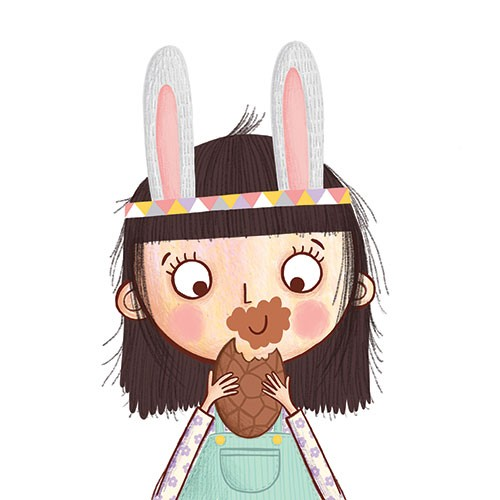 Katy Halford Illustration - katy, halford, fiction, picture book, commercial, characters, people, girl, paint, digital, digital, photoshop, illustrator, girl, character, easter, chocolate, eating, humour, mess, sweet, young, funny, bunny, rabbit, ears