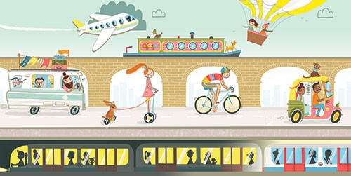 Katy Halford Illustration - katy, halford, fiction, picture book, commercial, characters, people, girl, paint, digital, mixed media, collage, digital, photoshop, illustrator, spread, busy, transport, vehicles, tube, boat, fly, plane, bus, car, family, design, segway, dog, bike, rick