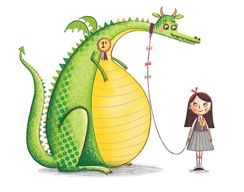 Katy Halford Illustration - katy, halford, fiction, picture book, commercial, mass-market, characters, digital, texture, digital, photoshop, illustrator, girl, school, uniform, cute, pet, dragon, prize, competition, first, winners, humour, funny, bow