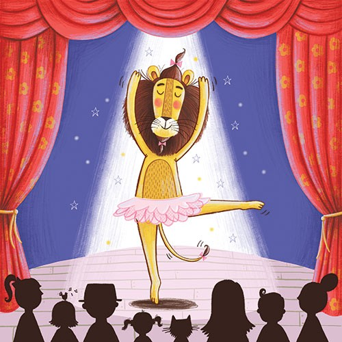 Katy Halford Illustration - katy, halford, fiction, picture book, commercial, mass-market, characters, digital, texture, digital, photoshop, illustrator, lion, charles, dance, ballet, show, theatre, humour, funny, tutu, bows, audience, wildlife