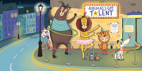 Katy Halford Illustration - katy, halford, fiction, picture book, commercial, characters, people, girl, paint, digital, texture, digital, photoshop, illustrator, animals, wildlife, bear, lion, cow, dog, talent, show, ballet, dancing, hula hoop, music, boy, tight, dress up, costume,