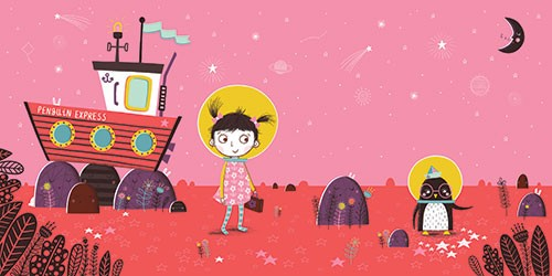 Katy Halford Illustration - katy, halford, fiction, picture book, commercial, characters, people, girl, paint, digital, digital, photoshop, illustrator, girl, penguin, friends, space, helmet, boat, exploring, moon, glasses, plants, stars, planets,