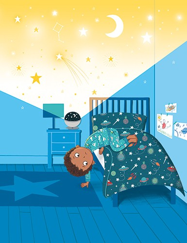 Katy Halford Illustration - katy, halford, fiction, picture book, commercial, characters, boy, bedroom, stars, pattern, john lewis, christmas, christmas advert, child, YA, young reader
