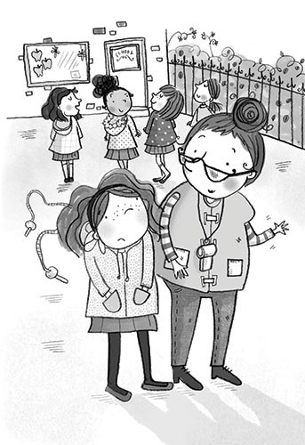 Kate Pankhurst Illustration - kate pankhurst, fiction, commercial, digital, black and white line, black line, people, characters, children, girl, teacher, school, playground, games, advice, PE