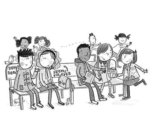 Kate Pankhurst Illustration - kate pankhurst, fiction, commercial, digital, black and white line, black line, people, characters, children, school, bench, friends, lunch time, chat, boys, girls, mates