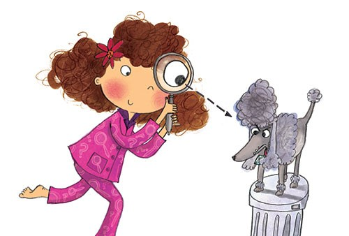 Kate Pankhurst Illustration - kate pankhurst, fiction, commercial, characters, people, girls, girly, paint, painted, ink, pen, watercolour, mixed media, collage, digital, character, pyjamas, mystery, poodle, dog, funny, cute,