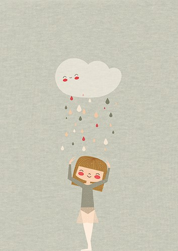 Laia Arriols Illustration - Laia, Arriols, Laia Arriols, illustration, commercial, fiction, mass market, greeting card, picture book, novelty, digital, photoshop, colourful, rain, cloud, raindrops, water, girl, figure, person, smile, happy, weather, seasons,