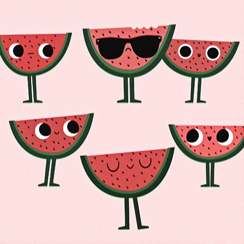 Laia Arriols Illustration - Laia, Arriols, Laia Arriols, illustration, commercial, fiction, mass market, greeting card, picture book, novelty, digital, photoshop, colourful, figures, fruit, watermelon, sunglasses, funny, silly,
