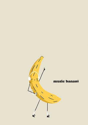 Laia Arriols Illustration - Laia, Arriols, Laia Arriols, illustration, commercial, fiction, mass market, greeting card, picture book, novelty, digital, photoshop, colourful, fruit, figure, banana, music, listening, dancing, dance, fun, silly, funny, cute, happy, shoes
