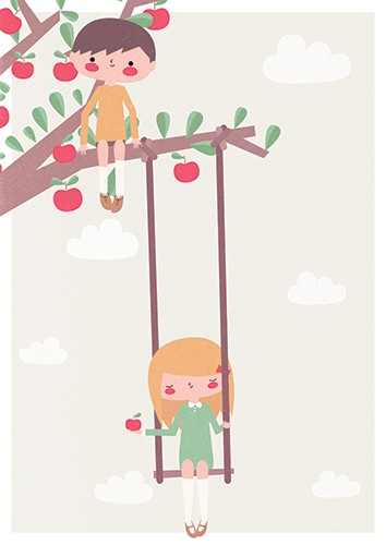 Laia Arriols Illustration - Laia, Arriols, Laia Arriols, illustration, commercial, fiction, mass market, greeting card, picture book, novelty, digital, photoshop, colourful, girls, people, women, figures, swing, tree, apples, apple tree, clouds, nature, outdoors