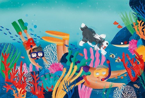 Laia Berloso Clara Illustration - Laia Berloso Clarà, illustrator, digital, watercolour, pastels, traditional, colour, colourful, fiction, picture book, adventure, ocean, sea, underwater, man, boy, family, grandfather, dog, pet, swimming, snorkel, coral, whale, animal, wild,